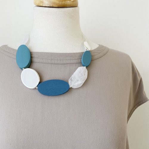 Blue ,Taupe, and; Rose Gold Necklace with Medal & Resin Beads on Cord