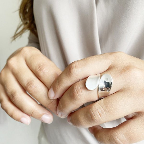 03 Silver WrapMatte & Shinny Sized Ring